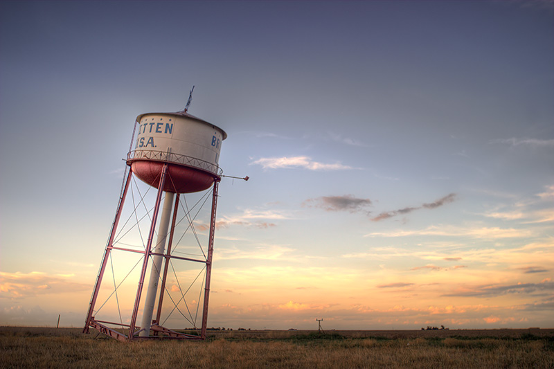 A leaning water tower just off Interstate 10 outside of Groom, Texas.