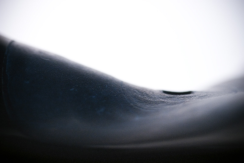 The center of a heat-distorted vinyl record.