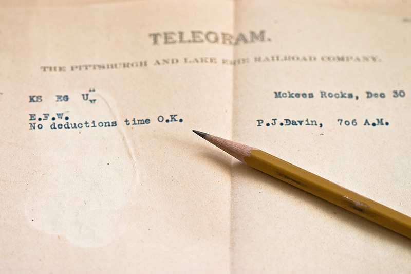 A telegram to the Pittsburg & Lake Erie Railroad Company indicating that there were no deductions and the time was okay.