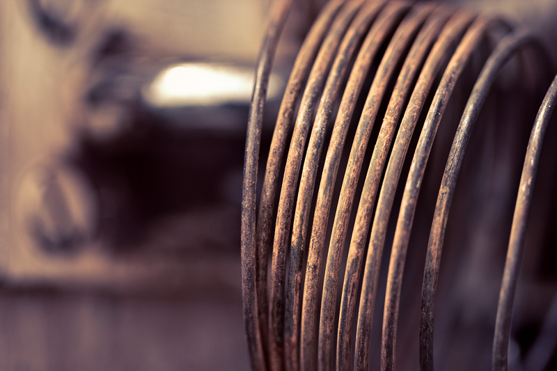 A coil of rusty wire.