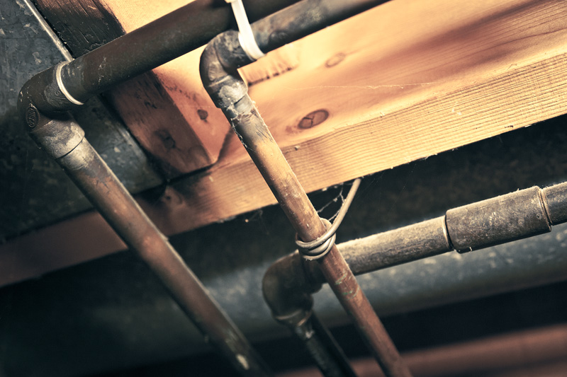 Pipes on the ceiling.