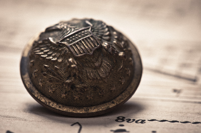 A detailed macro shot of an old military button.