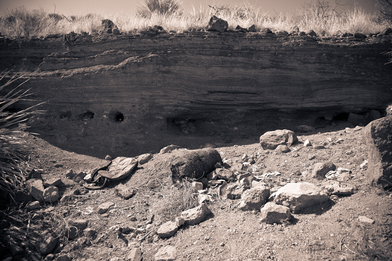 A rock shelter used by illegal immigrants in the side of the Paramore Crater, a volcanic maar in southeastern Arizona.