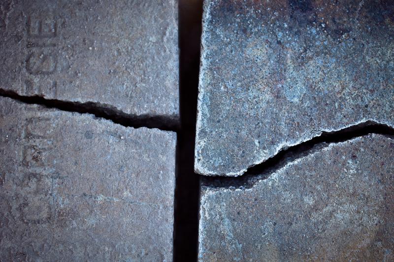 A pair of broken bricks.