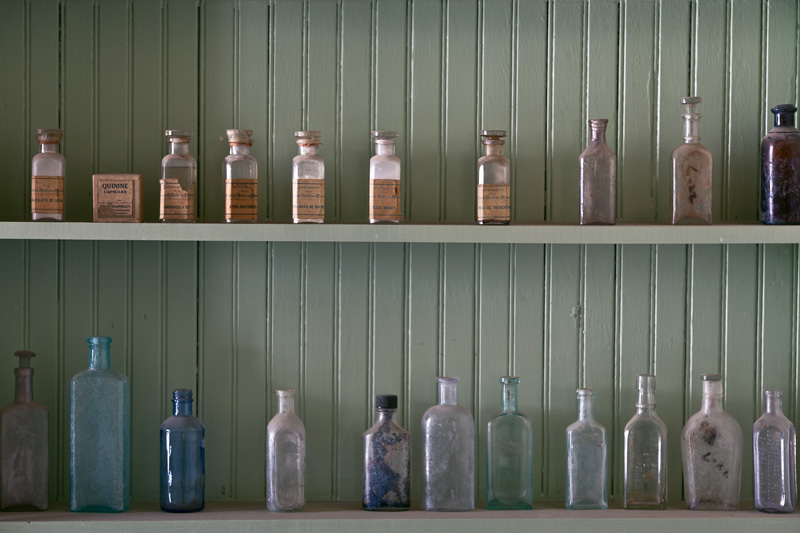 Shelves of empty bottles.