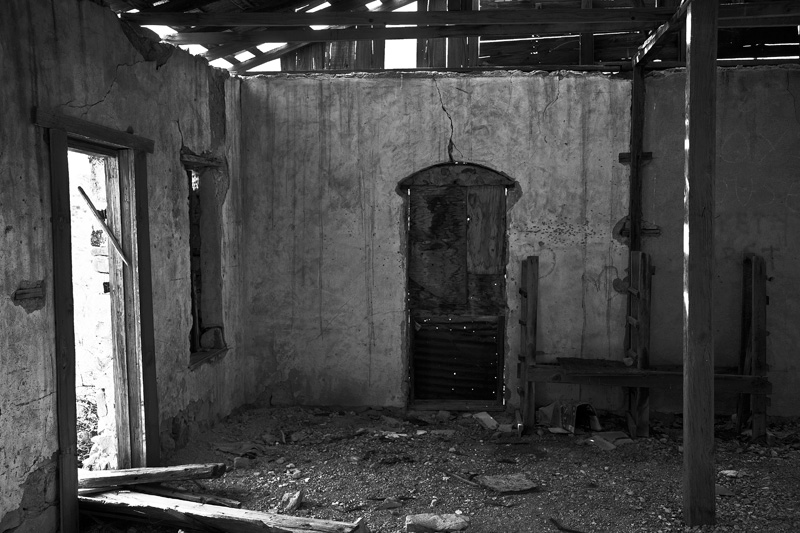 The interior of an abandoned building at the Johnny Bull Mine.