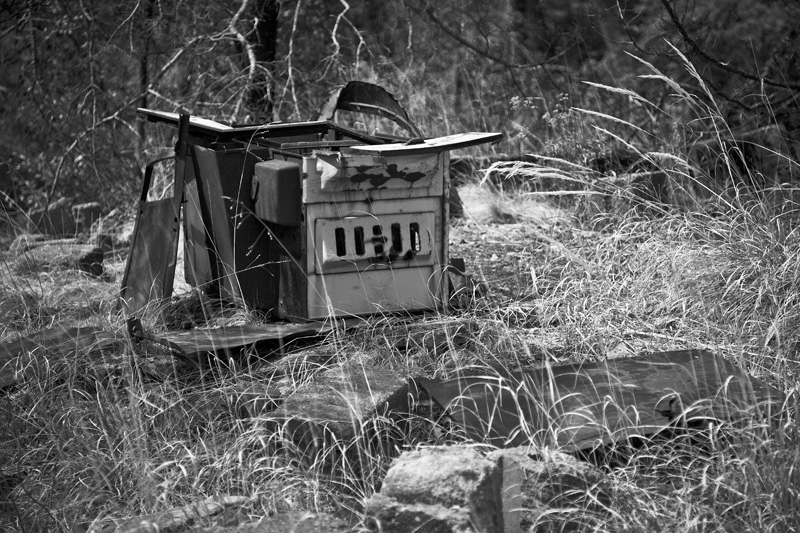 A stove among the ruins of a homestead at Ash Spring in the Chiricahua Mountains.