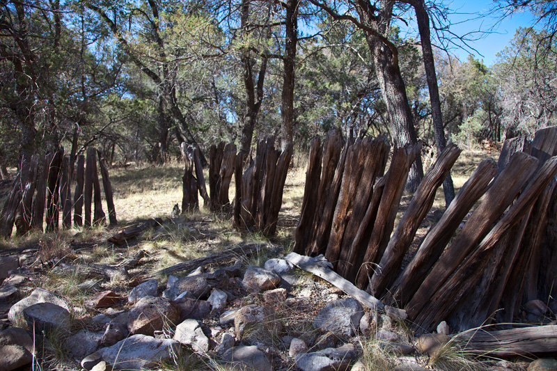 A collapsing wooden fence at Camp Rucker in the Chiricahua Mountains.