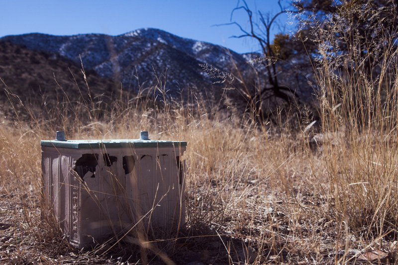 A car battery abandoned within the Dos Cabezas Wilderness.