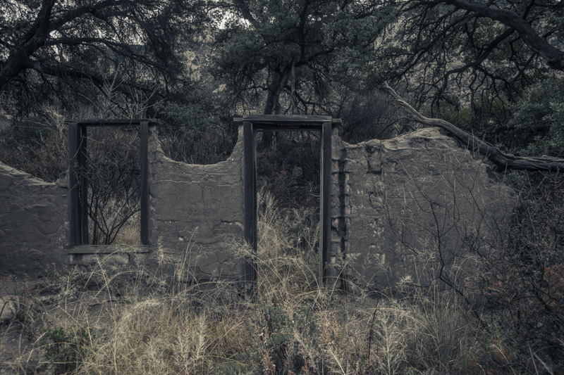 The ruins of an adobe house in the Peloncillo Mountains of southwestern New Mexico.